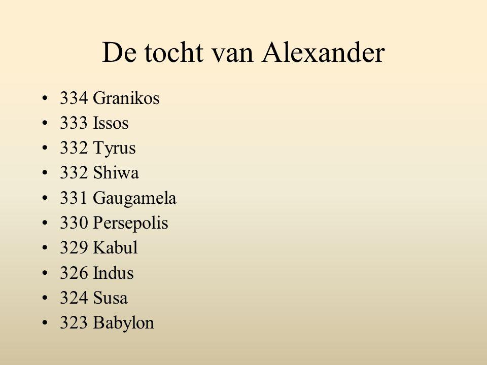 De tocht van Alexander 334 Granikos 333 Issos 332 Tyrus 332 Shiwa 331 Gaugamela 330 Persepolis 329 Kabul 326 Indus 324 Susa 323 Babylon