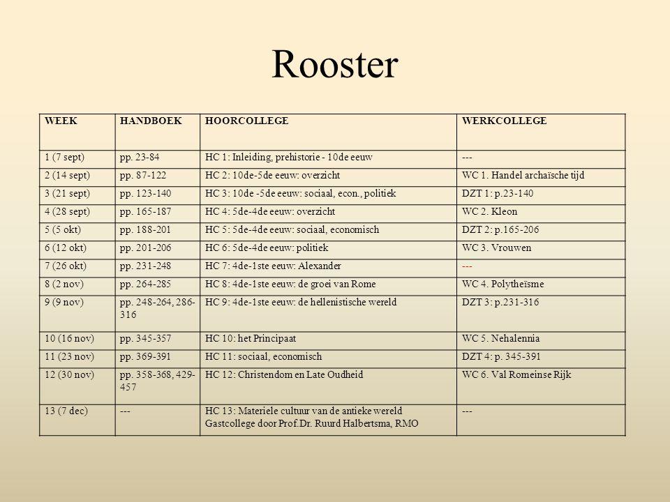 Rooster WEEKHANDBOEKHOORCOLLEGEWERKCOLLEGE 1 (7 sept)pp. 23-84HC 1: Inleiding, prehistorie - 10de eeuw--- 2 (14 sept)pp. 87-122HC 2: 10de-5de eeuw: ov