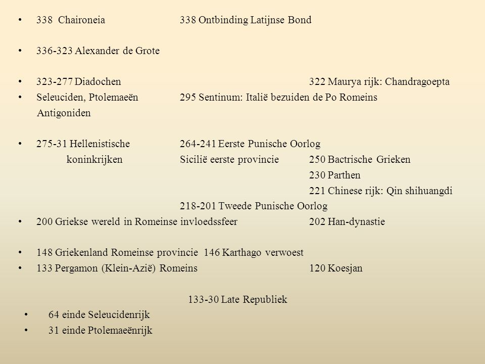 338 Chaironeia 338 Ontbinding Latijnse Bond 336-323 Alexander de Grote 323-277 Diadochen322 Maurya rijk: Chandragoepta Seleuciden, Ptolemaeën 295 Sent