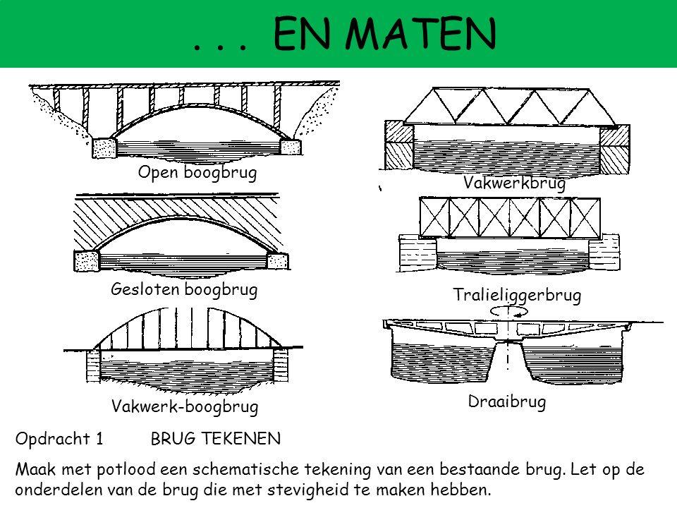 -... EN MATEN Opdracht 1BRUG TEKENEN Maak met potlood een schematische tekening van een bestaande brug. Let op de onderdelen van de brug die met stevi