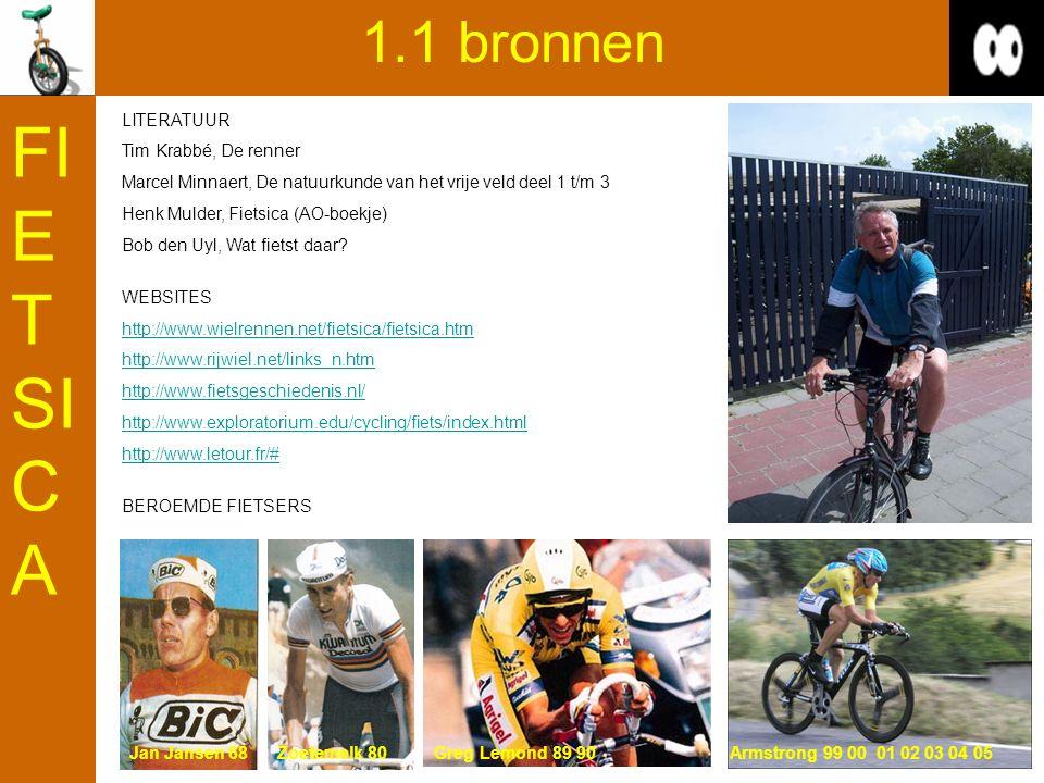 1.1 bronnen LITERATUUR Tim Krabbé, De renner Marcel Minnaert, De natuurkunde van het vrije veld deel 1 t/m 3 Henk Mulder, Fietsica (AO-boekje) Bob den