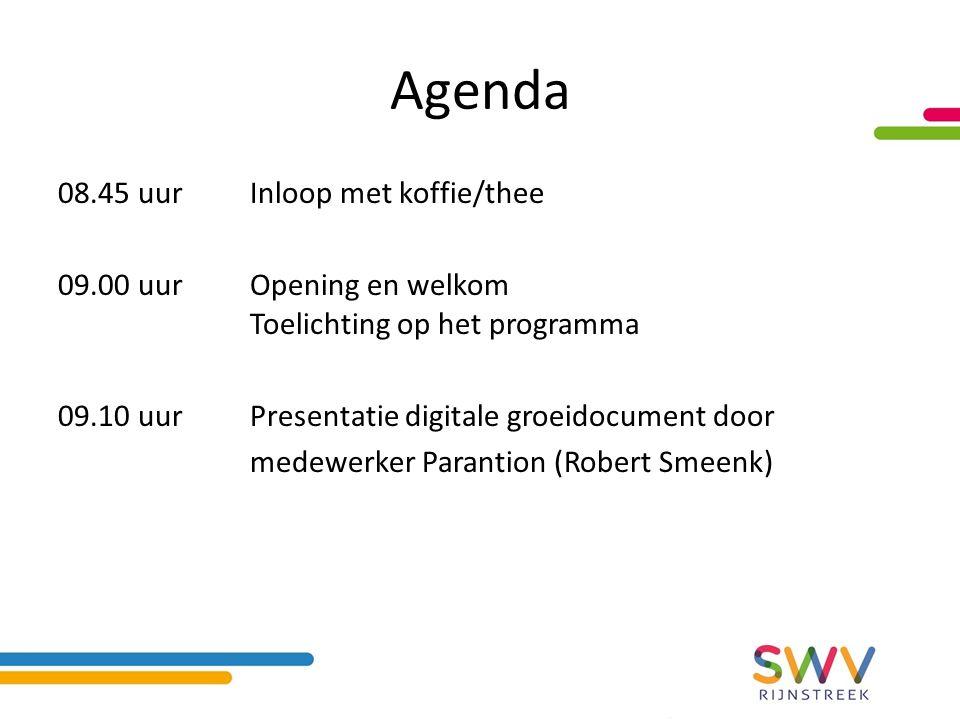 Agenda 08.45 uurInloop met koffie/thee 09.00 uurOpening en welkom Toelichting op het programma 09.10 uurPresentatie digitale groeidocument door medewerker Parantion (Robert Smeenk)