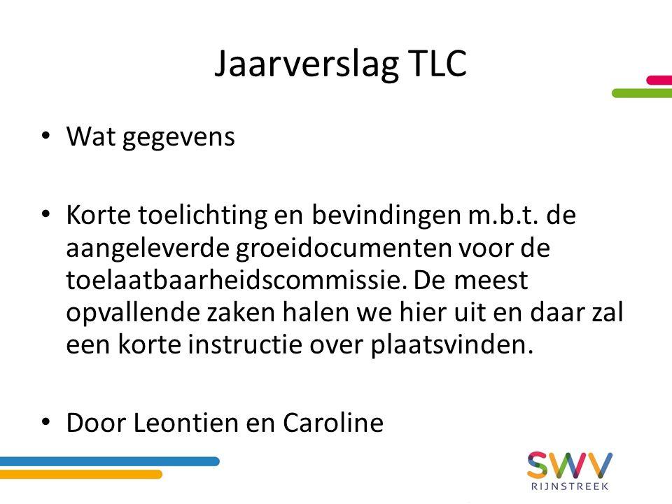 Jaarverslag TLC Wat gegevens Korte toelichting en bevindingen m.b.t.