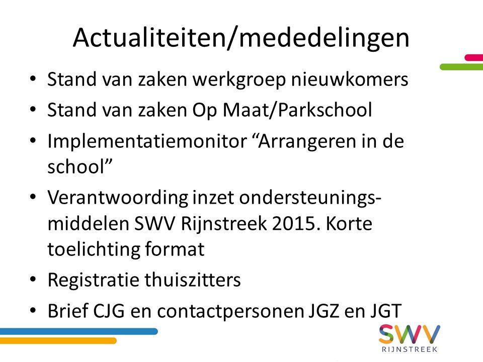 Actualiteiten/mededelingen Stand van zaken werkgroep nieuwkomers Stand van zaken Op Maat/Parkschool Implementatiemonitor Arrangeren in de school Verantwoording inzet ondersteunings- middelen SWV Rijnstreek 2015.