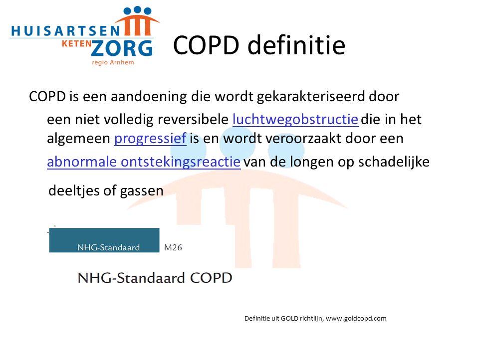 COPD definitie COPD is een aandoening die wordt gekarakteriseerd door een niet volledig reversibele luchtwegobstructie die in het algemeen progressief is en wordt veroorzaakt door een abnormale ontstekingsreactie van de longen op schadelijke deeltjes of gassen Definitie uit GOLD richtlijn, www.goldcopd.com
