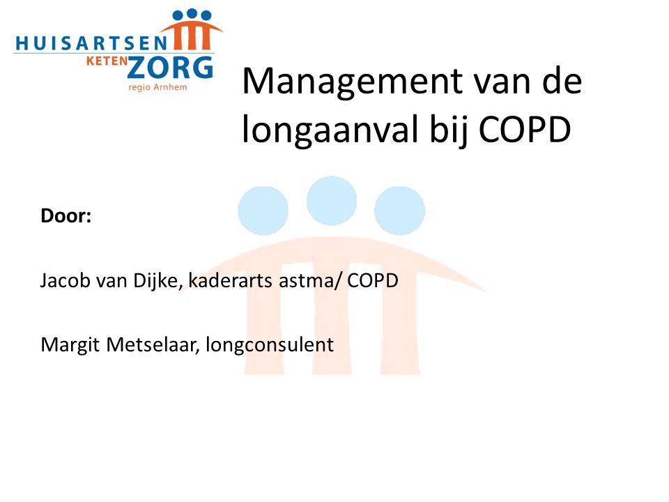 Beoordeling ernst longaanval Medische geschiedenis 1.Ernst van COPD; mate van luchtwegobstructie 2.Duur van verergering of nieuwe symptomen (dyspneu) 3.Aantal eerdere episoden van longaanvallen/ ziekenhuisopnames 4.Comorbiditeiten (m.n.