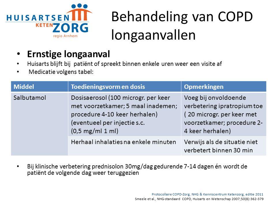 Behandeling van COPD longaanvallen Ernstige longaanval Huisarts blijft bij patiënt of spreekt binnen enkele uren weer een visite af Medicatie volgens tabel: Bij klinische verbetering prednisolon 30mg/dag gedurende 7-14 dagen én wordt de patiënt de volgende dag weer teruggezien Protocollaire COPD-Zorg, NHG & Kenniscentrum Ketenzorg, editie 2011 Smeele et al., NHG-standaard COPD, Huisarts en Wetenschap 2007;50(8):362-379 MiddelToedieningsvorm en dosisOpmerkingen SalbutamolDosisaerosol (100 microgr.