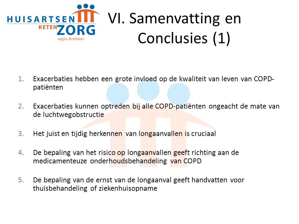 VI. Samenvatting en Conclusies (1) 1.Exacerbaties hebben een grote invloed op de kwaliteit van leven van COPD- patiënten 2.Exacerbaties kunnen optrede