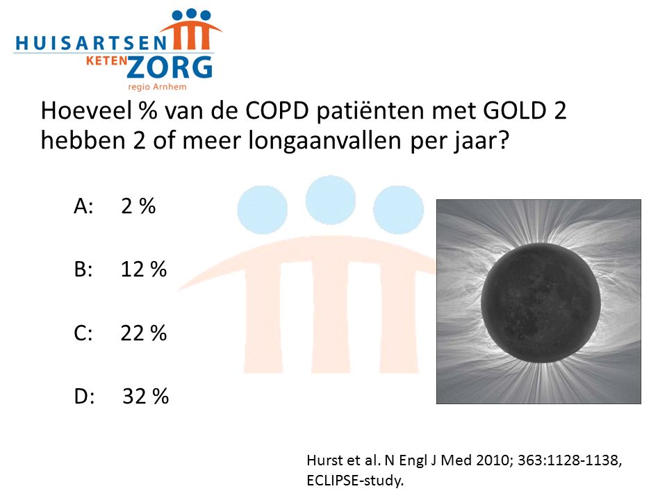 Hoeveel % van de COPD patiënten met GOLD 2 hebben 2 of meer longaanvallen per jaar.
