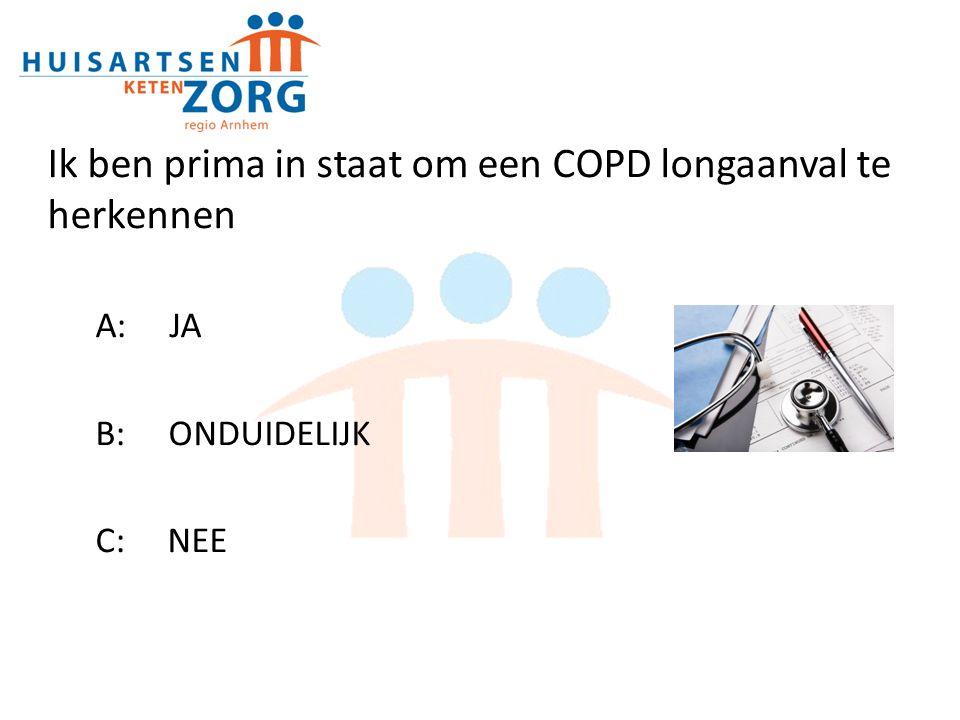 Anamnese en voorgeschiedenis Dhr Kok 58 jarige man met COPD en matige ziektelast (64 kg BMI 21,9) Toename benauwdheidsklachten (48 uur) en sputum Voorgeschiedenis: Cardiaal belast; gedotterd in 2008 Afgelopen jaar 2x longaanval COPD, behandeld met prednisolon 30mg ged.7 dagen.