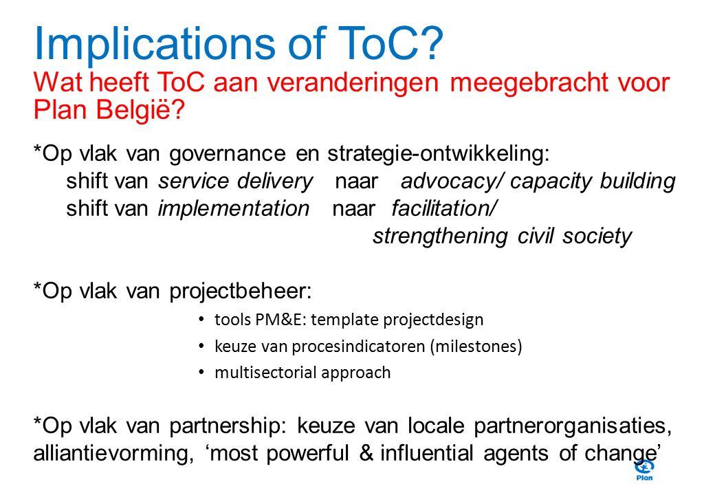 Implications of ToC? Wat heeft ToC aan veranderingen meegebracht voor Plan België? *Op vlak van governance en strategie-ontwikkeling: shift van servic