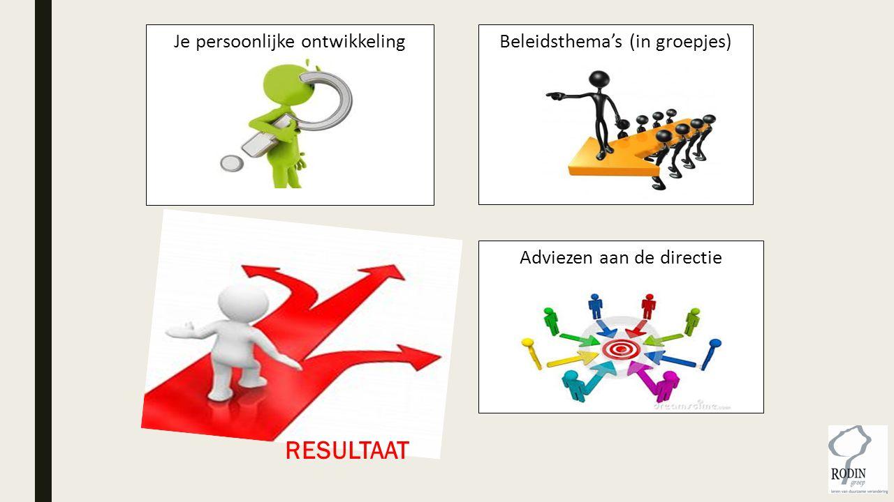 Je persoonlijke ontwikkeling Beleidsthema's (in groepjes) Adviezen aan de directie RESULTAAT