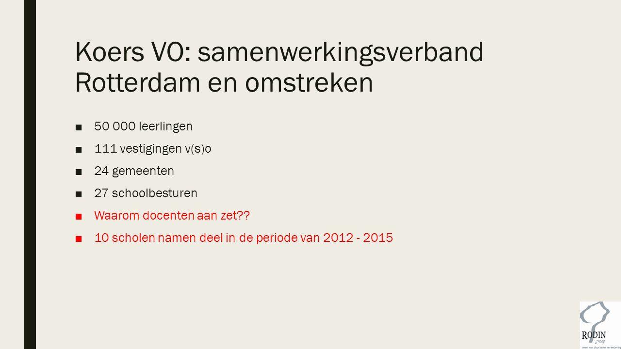 Koers VO: samenwerkingsverband Rotterdam en omstreken ■50 000 leerlingen ■111 vestigingen v(s)o ■24 gemeenten ■27 schoolbesturen ■Waarom docenten aan zet?.