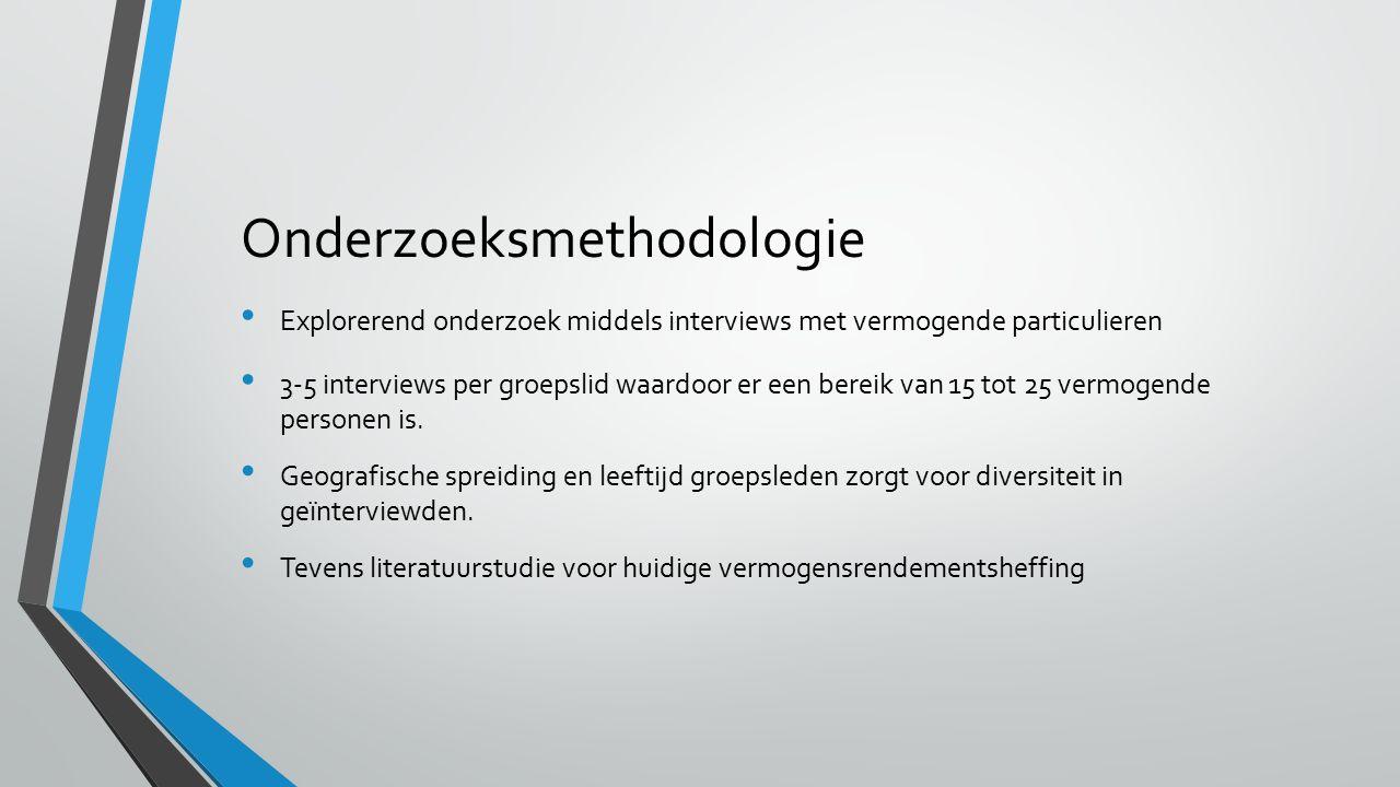 Onderzoeksmethodologie 3-5 interviews per groepslid waardoor er een bereik van 15 tot 25 vermogende personen is.