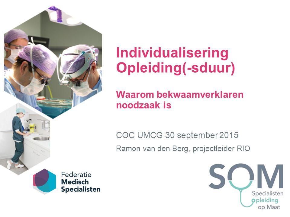 Individualisering Opleiding(-sduur) Waarom bekwaamverklaren noodzaak is COC UMCG 30 september 2015 Ramon van den Berg, projectleider RIO