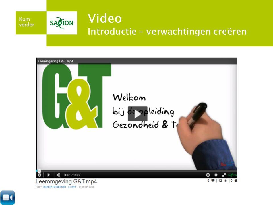 Video – doelen en vormen Aandacht trekken Introductie Verwachtingen creëren Uitleg en instructie Gesprekstechnieken - oefenen Casus Kennisclip Weblectures Studentvideo's Live feedback