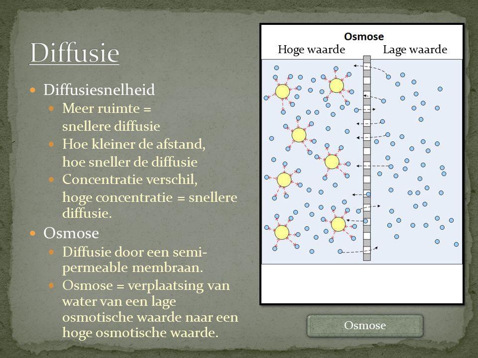 Diffusiesnelheid Meer ruimte = snellere diffusie Hoe kleiner de afstand, hoe sneller de diffusie Concentratie verschil, hoge concentratie = snellere d