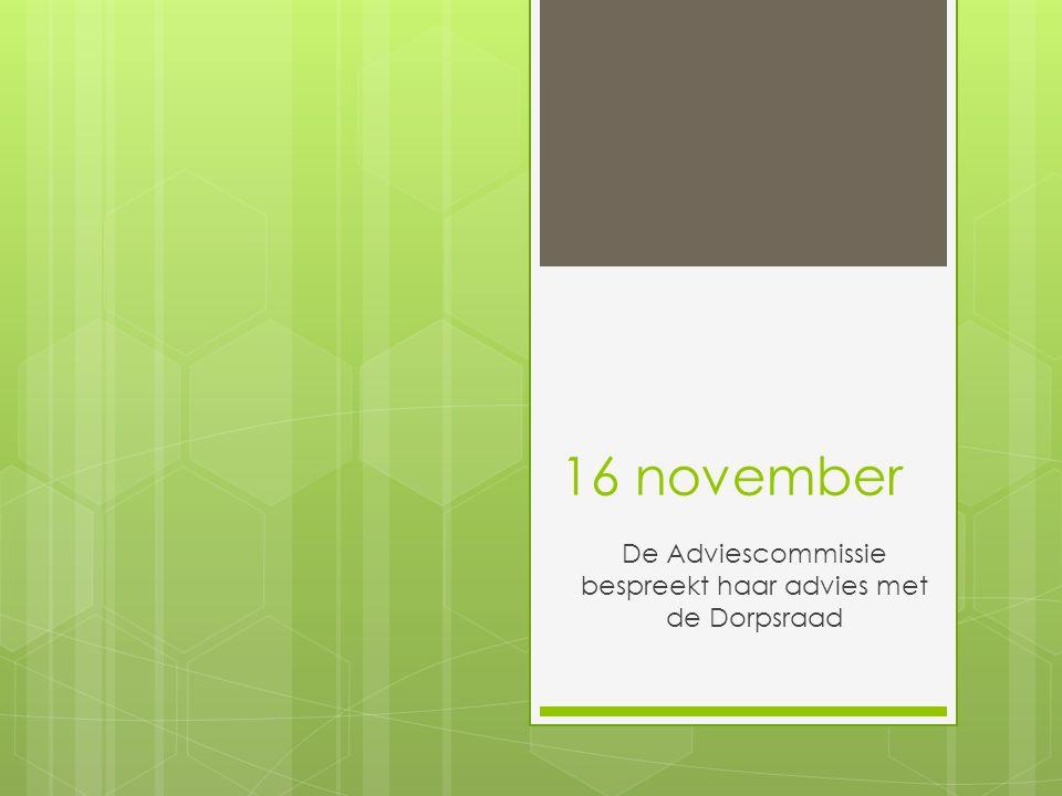 16 november De Adviescommissie bespreekt haar advies met de Dorpsraad