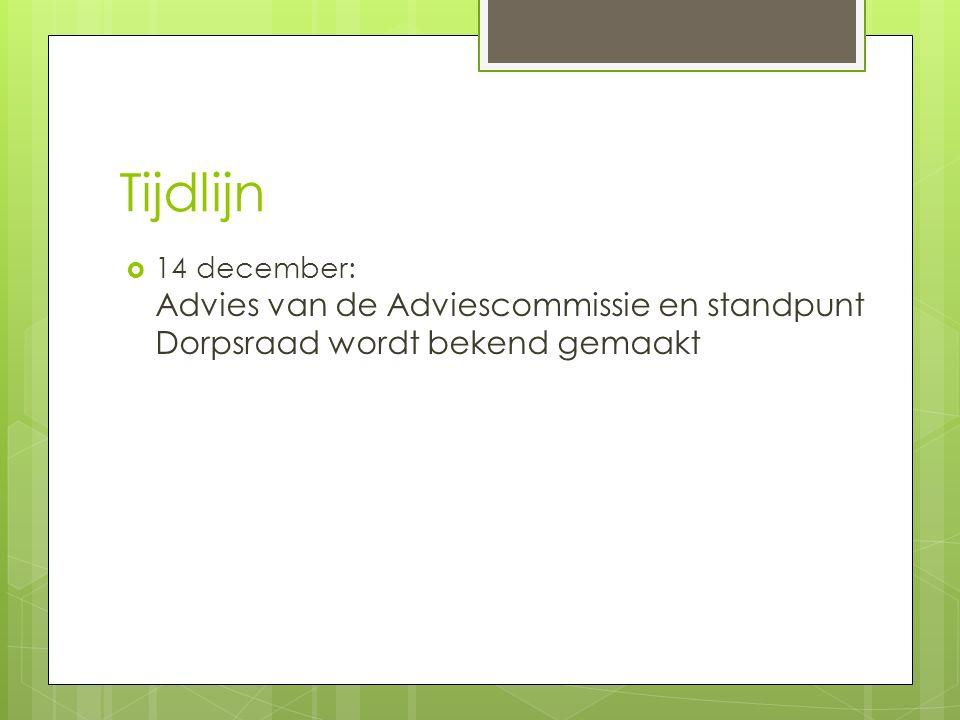 Tijdlijn  14 december: Advies van de Adviescommissie en standpunt Dorpsraad wordt bekend gemaakt
