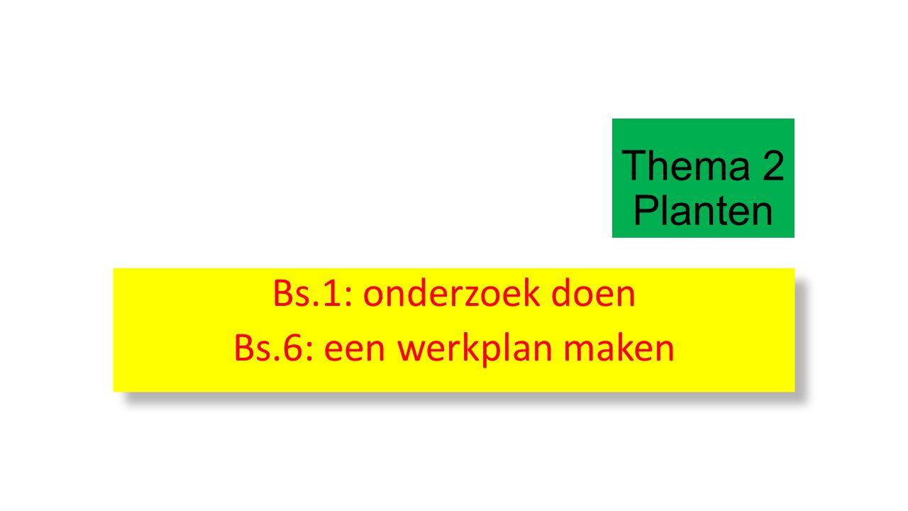 Thema 2 Planten Bs.1: onderzoek doen Bs.6: een werkplan maken Bs.1: onderzoek doen Bs.6: een werkplan maken