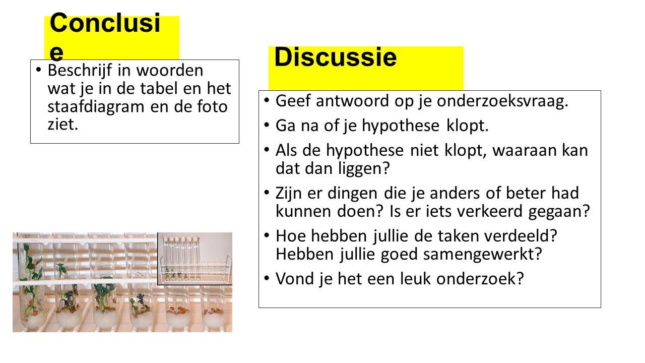 Conclusi e Beschrijf in woorden wat je in de tabel en het staafdiagram en de foto ziet. Geef antwoord op je onderzoeksvraag. Ga na of je hypothese klo