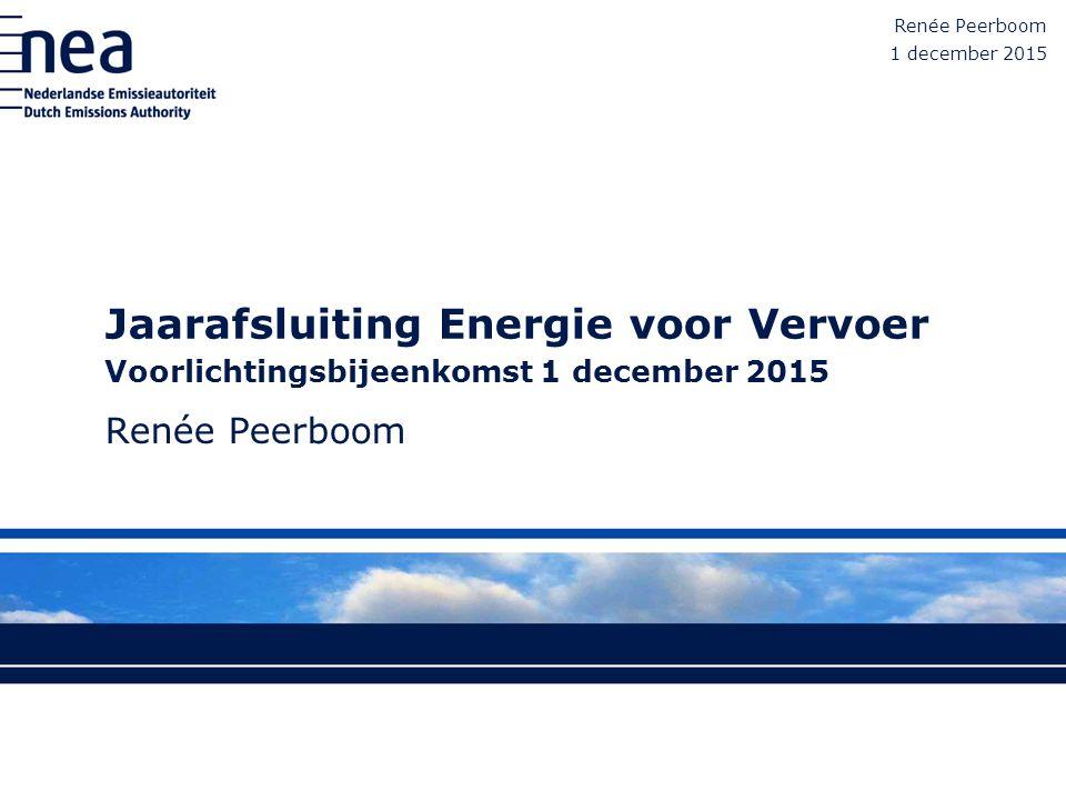 Jaarafsluiting Energie voor Vervoer Voorlichtingsbijeenkomst 1 december 2015 Renée Peerboom 1 december 2015