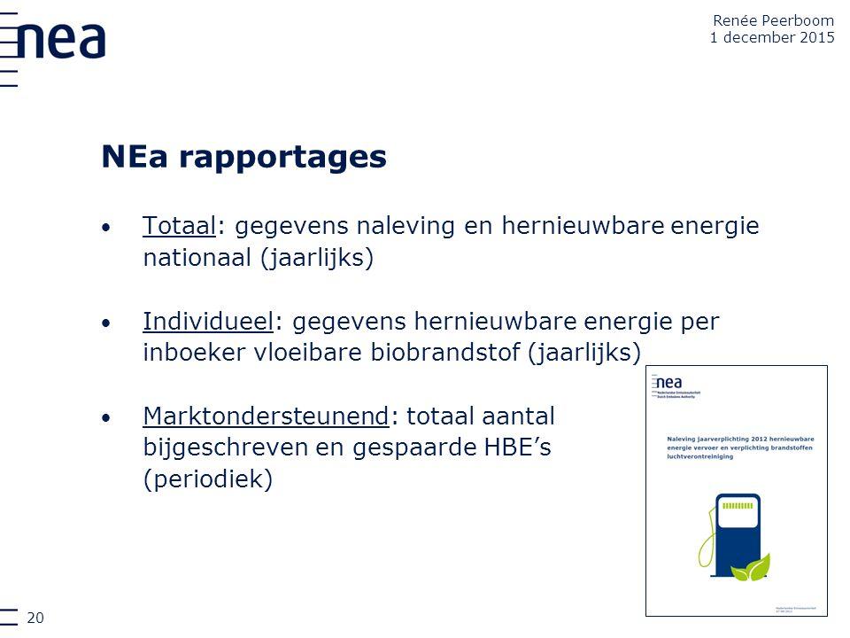 NEa rapportages Totaal: gegevens naleving en hernieuwbare energie nationaal (jaarlijks) Individueel: gegevens hernieuwbare energie per inboeker vloeib