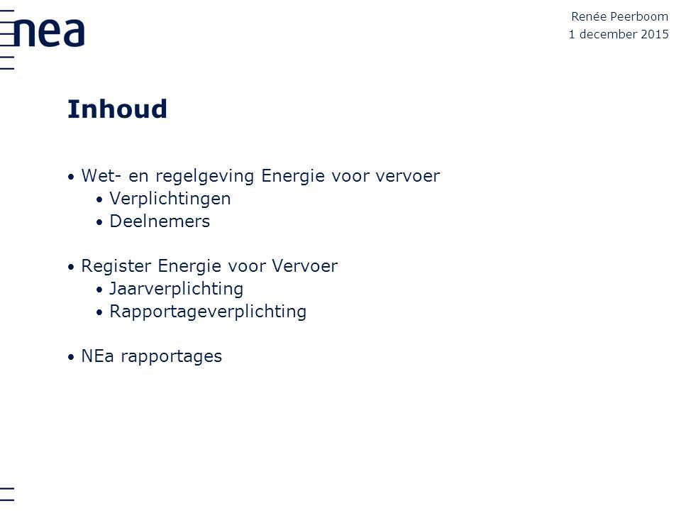 Inhoud Wet- en regelgeving Energie voor vervoer Verplichtingen Deelnemers Register Energie voor Vervoer Jaarverplichting Rapportageverplichting NEa ra