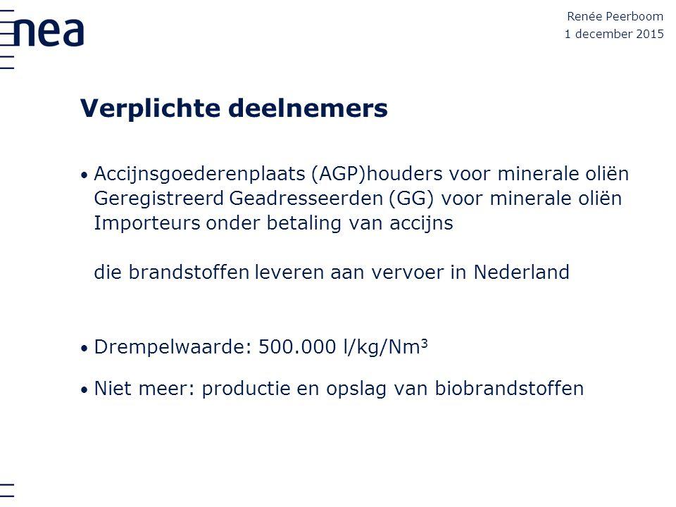 Renée Peerboom Verplichte deelnemers Accijnsgoederenplaats (AGP)houders voor minerale oliën Geregistreerd Geadresseerden (GG) voor minerale oliën Impo