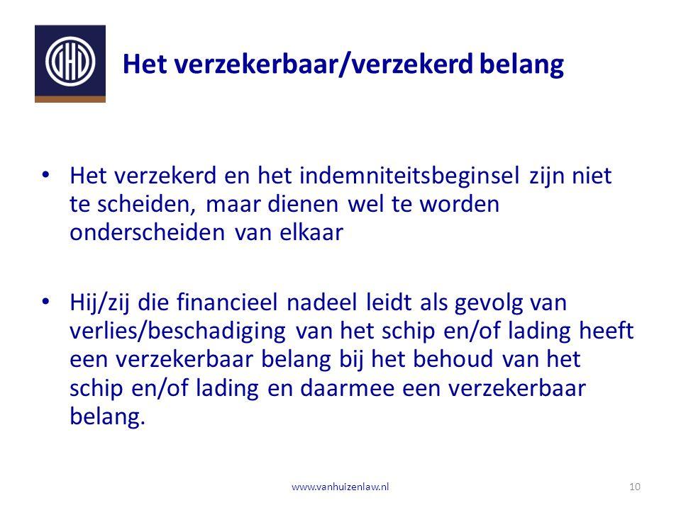 Het verzekerbaar/verzekerd belang Het verzekerd en het indemniteitsbeginsel zijn niet te scheiden, maar dienen wel te worden onderscheiden van elkaar Hij/zij die financieel nadeel leidt als gevolg van verlies/beschadiging van het schip en/of lading heeft een verzekerbaar belang bij het behoud van het schip en/of lading en daarmee een verzekerbaar belang.