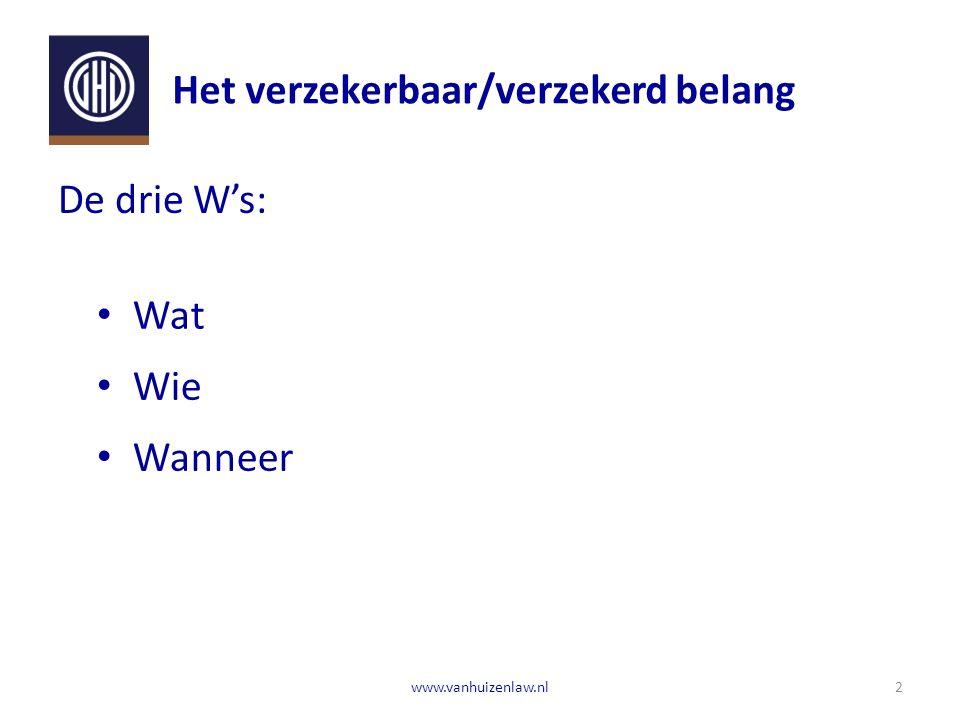 Het verzekerbaar/verzekerd belang 2www.vanhuizenlaw.nl De drie W's: Wat Wie Wanneer
