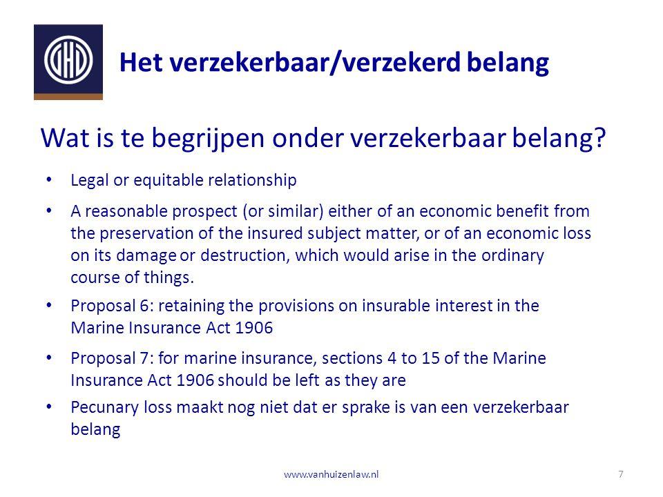 Het verzekerbaar/verzekerd belang 7www.vanhuizenlaw.nl Wat is te begrijpen onder verzekerbaar belang.