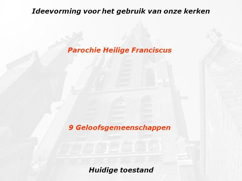 Nieuwe toestand Ideevorming voor het gebruik van onze kerken Parochie Heilige Franciscus 3 Clusters: Veghel -- Mariaheide Erp -- Keldonk --Boerdonk Zijtaart -- Eerde 9 Geloofsgemeenschappen