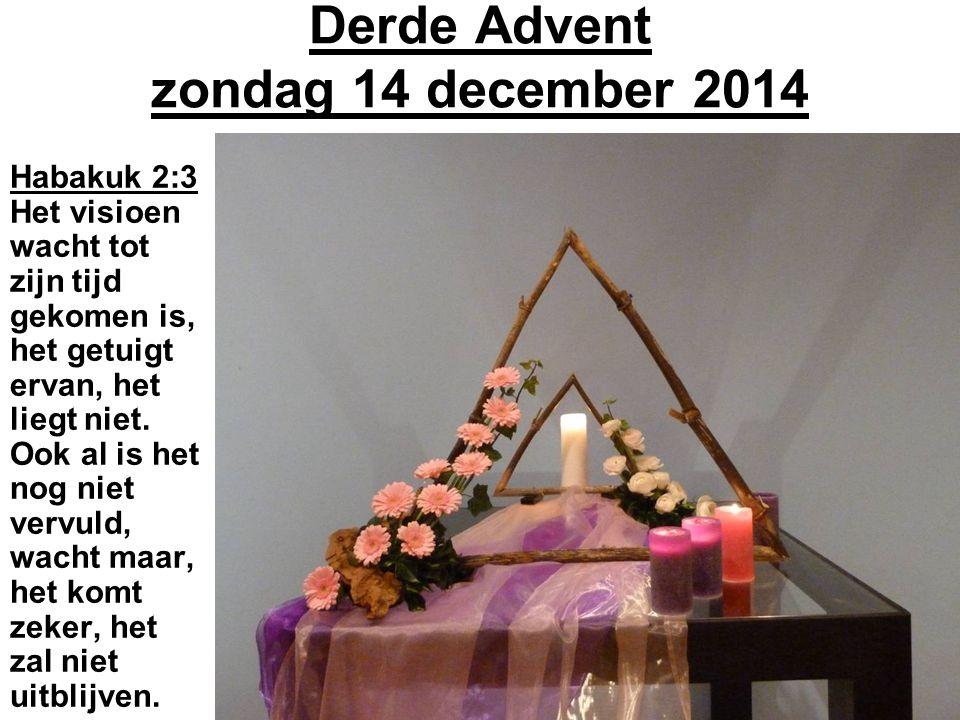 Derde Advent zondag 14 december 2014 Habakuk 2:3 Het visioen wacht tot zijn tijd gekomen is, het getuigt ervan, het liegt niet.