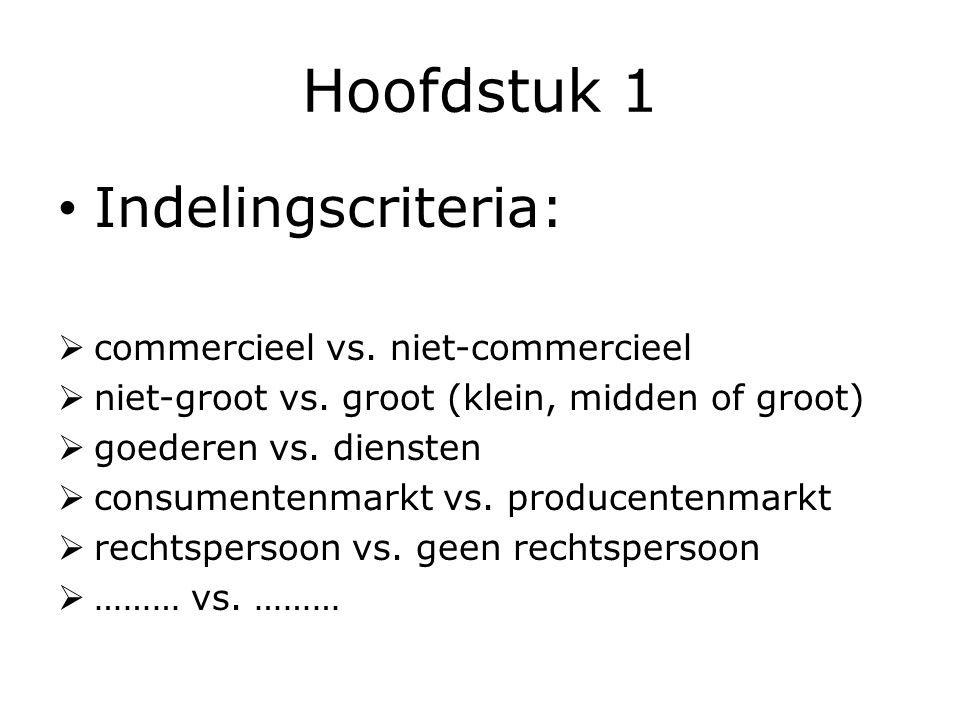 Hoofdstuk 1 Indelingscriteria:  commercieel vs.niet-commercieel  niet-groot vs.