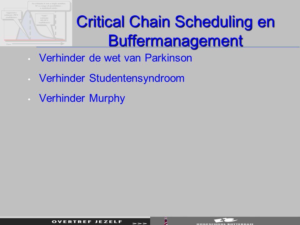Critical Chain Scheduling en Buffermanagement Verhinder de wet van Parkinson Verhinder Studentensyndroom Verhinder Murphy