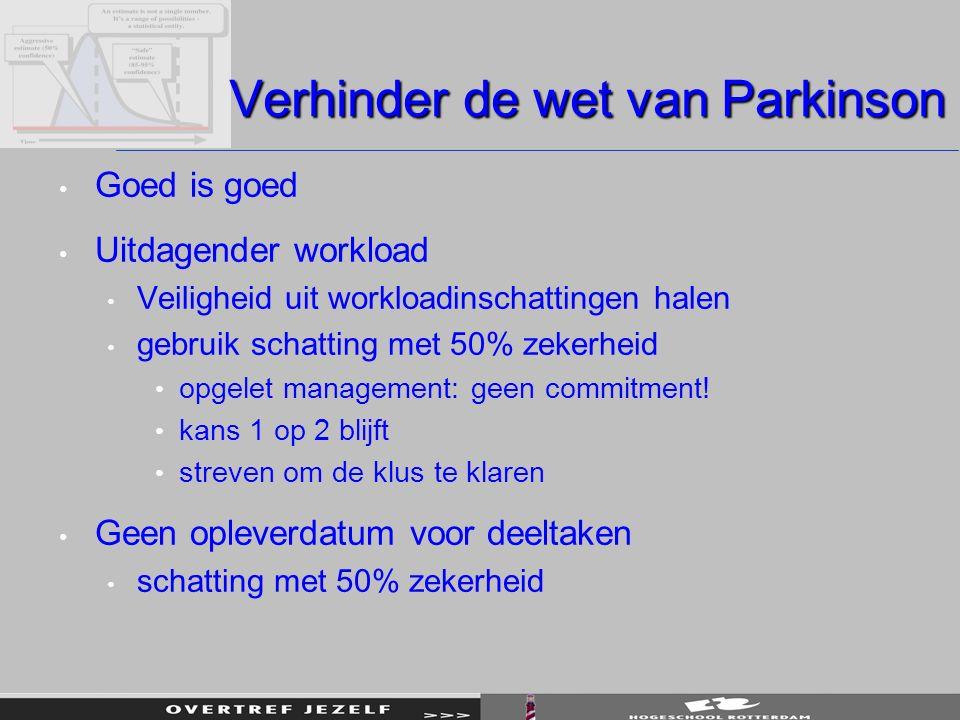 Verhinder de wet van Parkinson Goed is goed Uitdagender workload Veiligheid uit workloadinschattingen halen gebruik schatting met 50% zekerheid opgelet management: geen commitment.