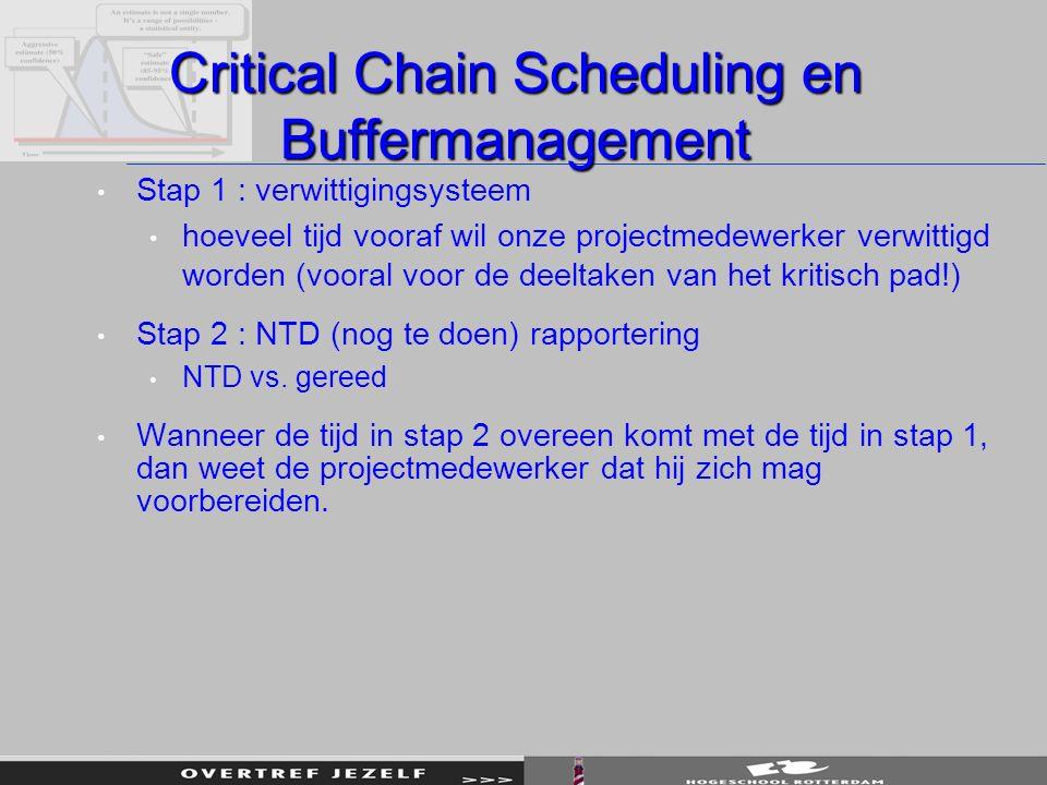 Critical Chain Scheduling en Buffermanagement Stap 1 : verwittigingsysteem hoeveel tijd vooraf wil onze projectmedewerker verwittigd worden (vooral voor de deeltaken van het kritisch pad!) Stap 2 : NTD (nog te doen) rapportering NTD vs.