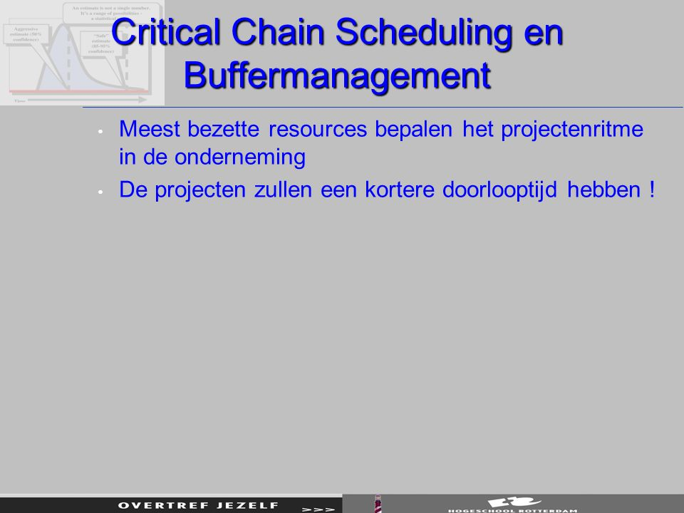Critical Chain Scheduling en Buffermanagement Meest bezette resources bepalen het projectenritme in de onderneming De projecten zullen een kortere doo