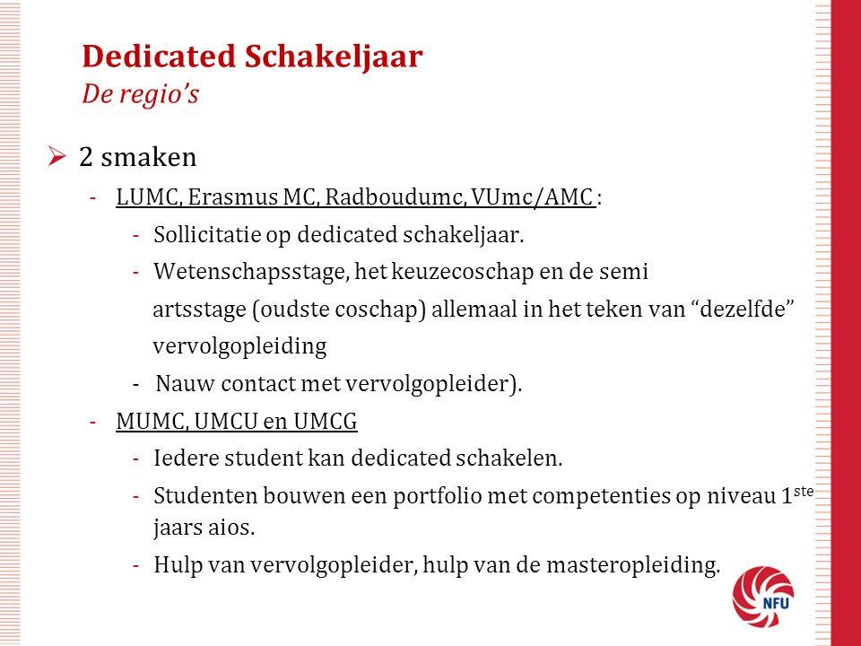 Dedicated Schakeljaar De regio's  2 smaken -LUMC, Erasmus MC, Radboudumc, VUmc/AMC : -Sollicitatie op dedicated schakeljaar.