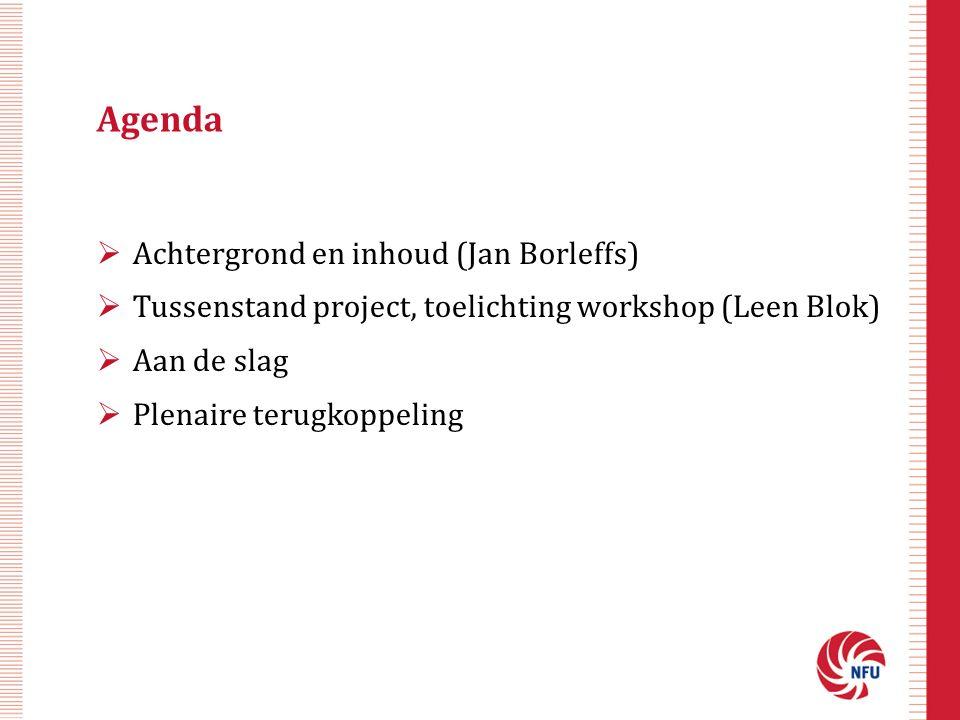 Agenda  Achtergrond en inhoud (Jan Borleffs)  Tussenstand project, toelichting workshop (Leen Blok)  Aan de slag  Plenaire terugkoppeling
