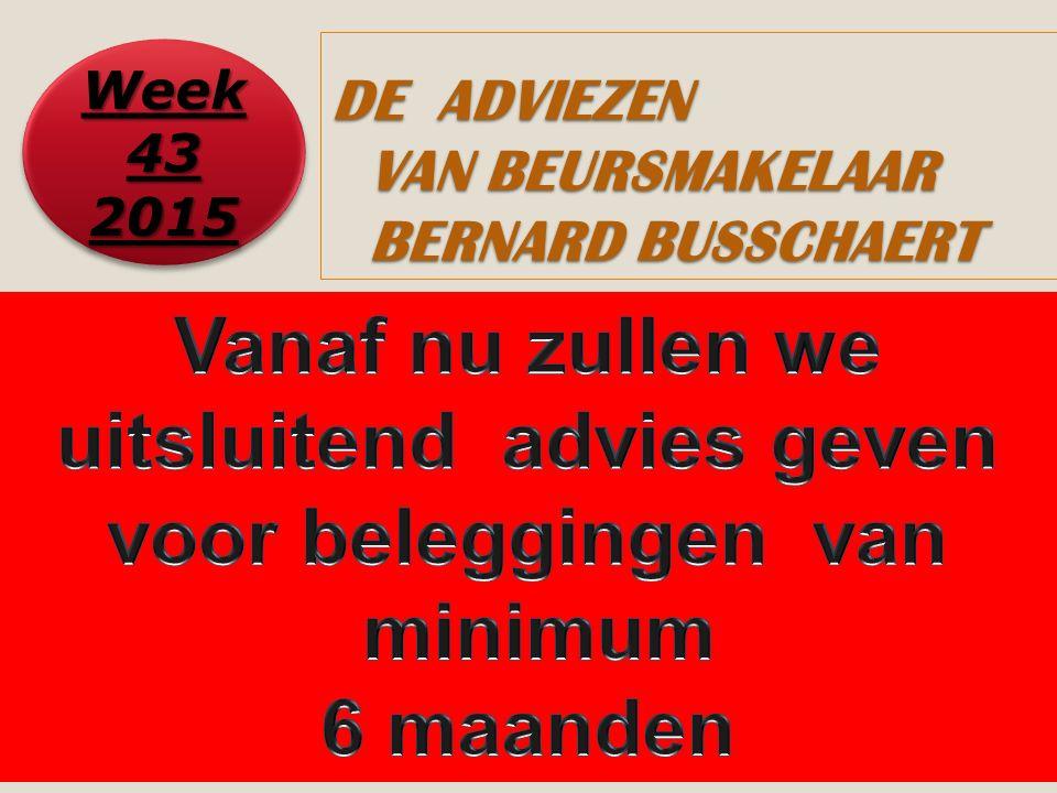 1 DE ADVIEZEN VAN BEURSMAKELAAR BERNARD BUSSCHAERT Week 43 2015 2015