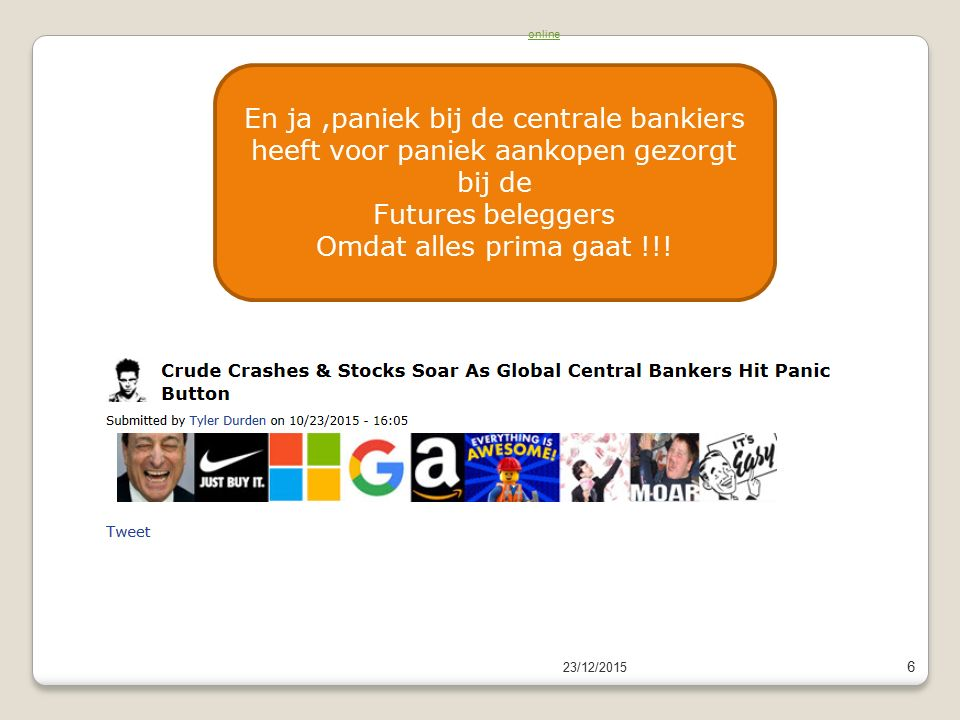 23/12/2015 6 Read newsletter onlineRead newsletter online En ja,paniek bij de centrale bankiers heeft voor paniek aankopen gezorgt bij de Futures beleggers Omdat alles prima gaat !!!
