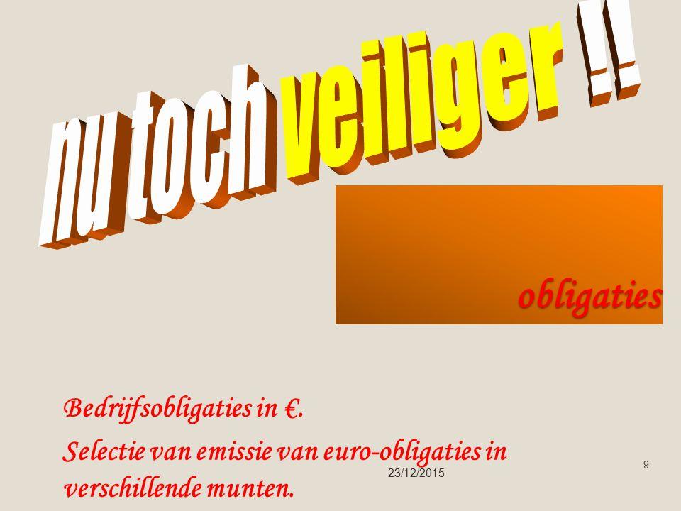 obligaties 23/12/2015 9 Bedrijfsobligaties in €.