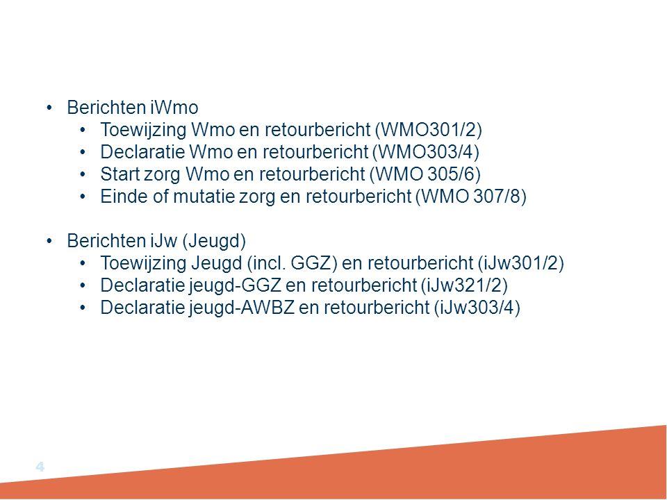 4 Berichten iWmo Toewijzing Wmo en retourbericht (WMO301/2) Declaratie Wmo en retourbericht (WMO303/4) Start zorg Wmo en retourbericht (WMO 305/6) Einde of mutatie zorg en retourbericht (WMO 307/8) Berichten iJw (Jeugd) Toewijzing Jeugd (incl.