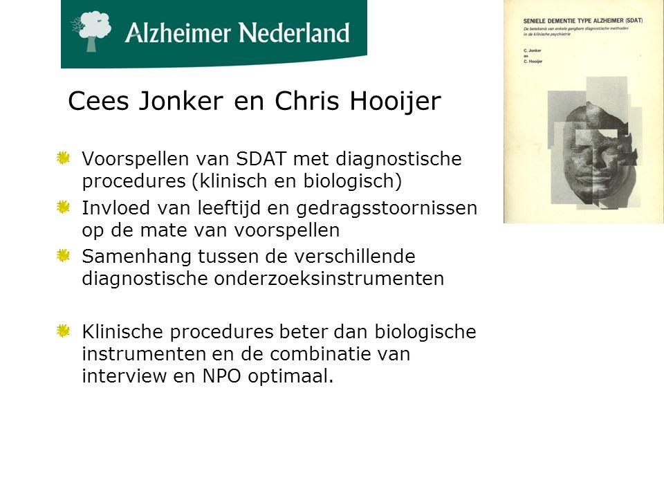 Cees Jonker en Chris Hooijer Voorspellen van SDAT met diagnostische procedures (klinisch en biologisch) Invloed van leeftijd en gedragsstoornissen op de mate van voorspellen Samenhang tussen de verschillende diagnostische onderzoeksinstrumenten Klinische procedures beter dan biologische instrumenten en de combinatie van interview en NPO optimaal.
