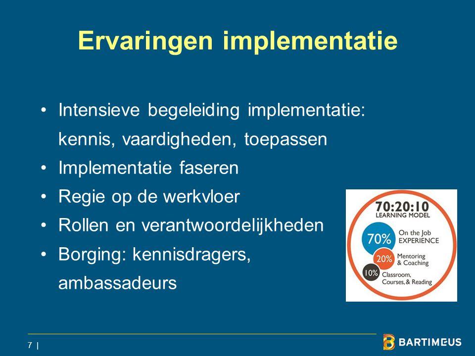Ervaringen implementatie Intensieve begeleiding implementatie: kennis, vaardigheden, toepassen Implementatie faseren Regie op de werkvloer Rollen en v
