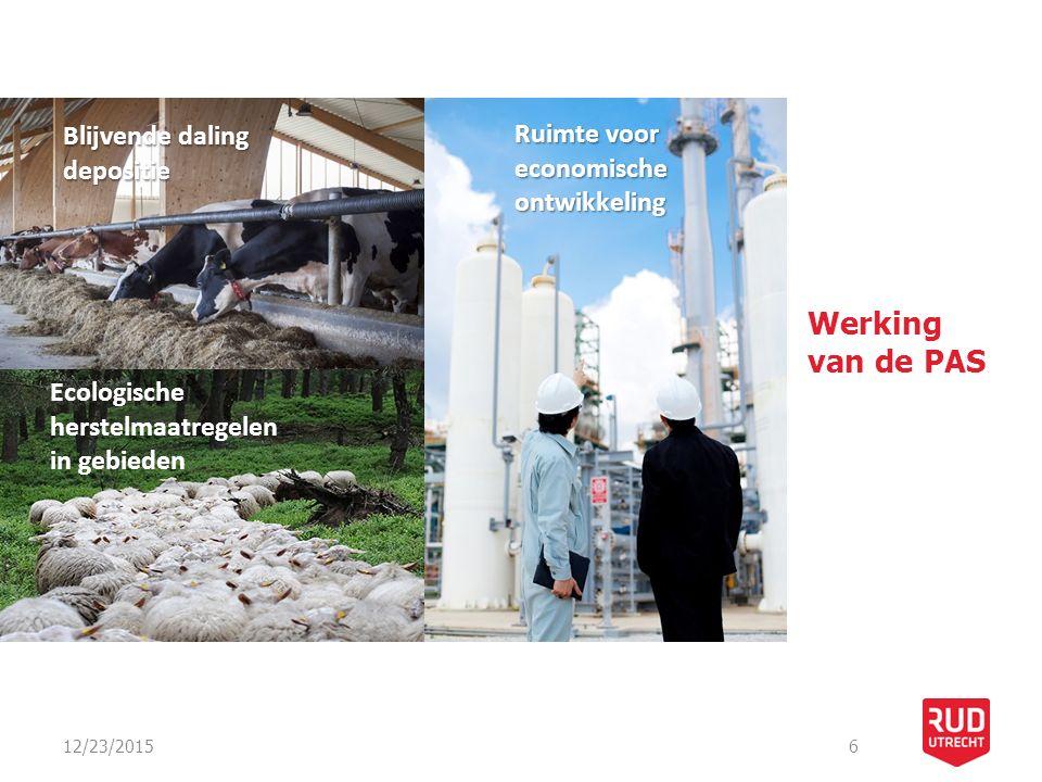 12/23/20156 Werking van de PAS Ruimte voor economische ontwikkeling Ecologische herstelmaatregelen in gebieden Blijvende daling depositie
