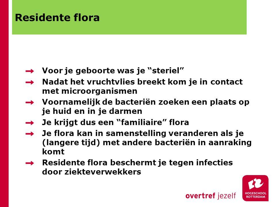 """Residente flora Voor je geboorte was je """"steriel"""" Nadat het vruchtvlies breekt kom je in contact met microorganismen Voornamelijk de bacteriën zoeken"""