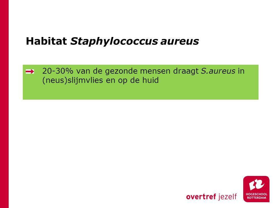 Habitat Staphylococcus aureus 20-30% van de gezonde mensen draagt S.aureus in (neus)slijmvlies en op de huid